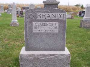 Clarence S. Brandt, Zion Lutheran Cemetery, Chattanooga, Mercer County, Ohio. (2011 photo by Karen)