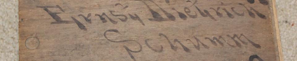 Wooden box that once belonged to Ernst Dietrich, Schumm, Ohio.