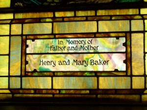 Dedication below Zion's south window. (2011 photo by Karen)