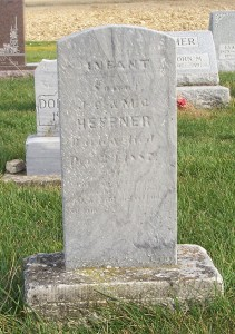 Infant son of JC & MC (Tester) Heffner, Zion Lutheran Cemetery, Chattanooga, Mercer County, Ohio. (2011 photo by Karen)