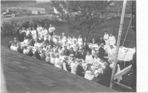 Undated wedding dinner photo postcard from the Germann collection.