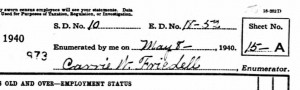 Carrie W. Friedell, 1940 Census Enumerator, Eaton, Delaware County, Indiana. [2]