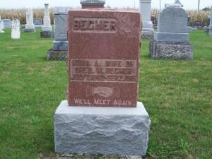 Nora Becher, Zion Lutheran Cemetery, Chattanooga, Ohio. (2011 photo by Karen)