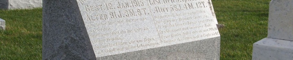 John Ludwig & Rosina Allmandinger, Zion Lutheran Cemetery, Chattanooga, Mercer County, Ohio. (2011 photo by Karen)
