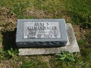 Anna B. Allmandinger, Kessler Cemetery, Mercer County, Ohio. (2015 photo by Karen)
