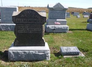 John and Anna Allmandinger tombstones, Kessler Cemetery, Mercer County, Ohio. (2015 photo by Karen)