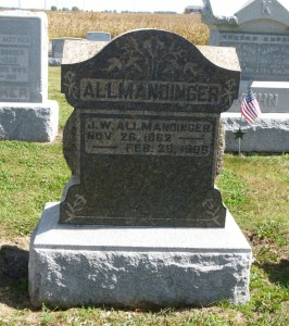 John W. Allmandinger, Kessler Cemetery, Mercer County, Ohio. (2015 photo by Karen.