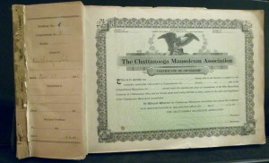 Chattanooga Mausoleum Association certificate book with stubs.