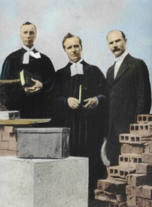 Cornerstone dedication, 1916. Rev. R.V. Smith, Rev. W.H.F. Heuer, Rev. B.F. Brandt.