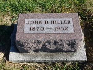 John D. Hiller, Kessler Cemetery, Mercer County, Ohio (2015 photo by Karen)