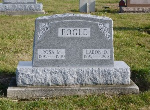 Labon O. & Rosa M. (Berger) Fogle, Kessler Cemetery, Mercer County, Ohio. (2015 photo by Karen)
