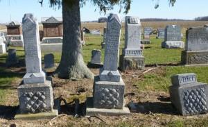 Edward, Elizabeth, Heinrich Hiller, siblings, Kessler Cemetery, Mercer County, Ohio (2015 photo by Karen)
