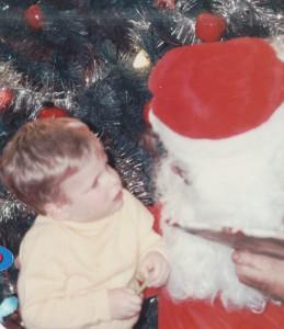 Jeff talking to Santa, c1983.