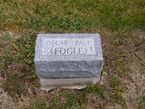 Oscar Paul Fogle, Kessler Cemetery, Mercer County, Ohio. (2015 photo by Karen)