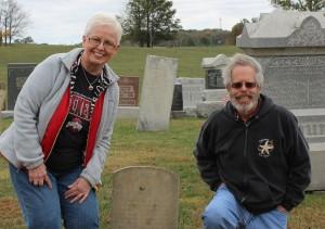 Karen and Paul by John Georg Schumm's tombstone. (2015 photo by Karen)
