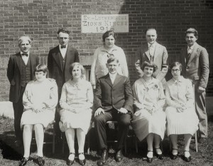 1927 Zion Chatt Adult Confirmation Class with Rev. Jacob Albrecht.