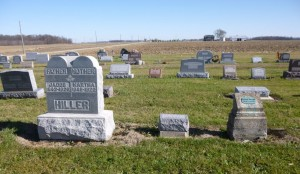 George Hiller buried near Hiller relatives, Kessler Cemetery, Mercer County, Ohio. (2015 photo by Karen)