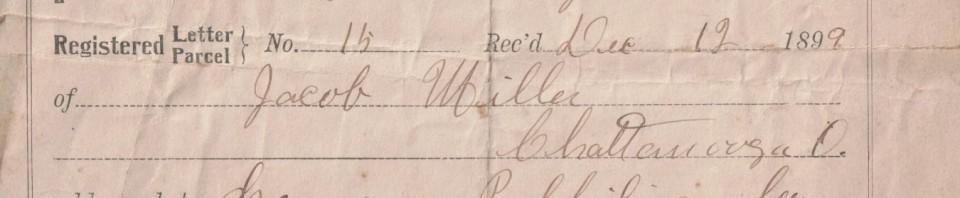 Registered Letter Receipt 1899, Chattanooga, Ohio, postmark.