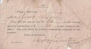 Jacob Miller's Chattanooga, Ohio, Post Office box rental receipt.