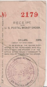 Postal Money Order receipt from Chattanooga, Ohio, dated 12 Nov 1904.