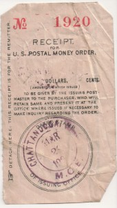 Postal Money Order receipt from Chattanooga, Ohio, dated March, 190?.