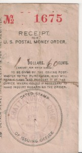 Postal Money Order receipt from Chattanooga, Ohio, dated 29 Nov, 190?