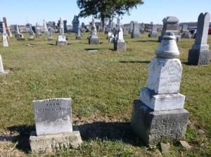 John and Mary Hiller tombstones, Kessler Cemetery. (2015 photo by Karen)