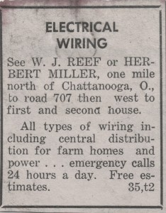 Pre-1957 local newspaper ad.