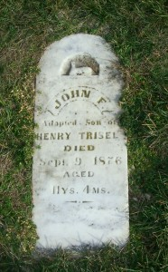 John F, adopted son of Henry Trisel, Zion Lutheran Cemetery, Chattanooga, Mercer County, Ohio. (2011 photo by Karen)