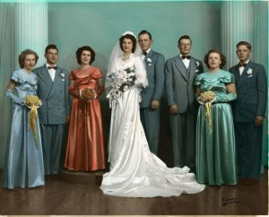 Wedding of Herb & Florence Miller, 1950. Kate Miller on the right in the green dress.