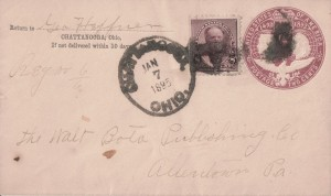 Chattanooga, Ohio, postmark.
