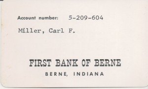 Carl Miller checking account card.