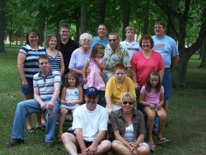 Aunt Kate & Uncle Paul with their family, 2007 Miller reunion.
