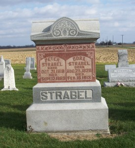 Peter & Dora Strabel, Zion Lutheran Cemetery, Mercer County, Ohio. (2011 photo by Karen)