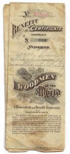 Jacob Miller Jr's Woodmen of the World certificate, 1911.
