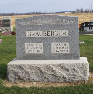 George A. & Anna M. Grauberger, Zion Lutheran Cemetery, Chattanooga, Ohio. (2011 photo by Karen)