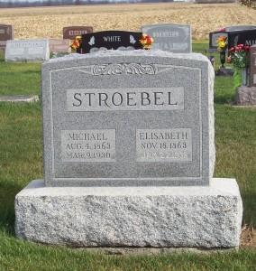 Michael & Elizabeth Stroebel, Zion Lutheran Cemetery, Chattanooga, Mercer County, Ohio. (2011 photo by Karen)