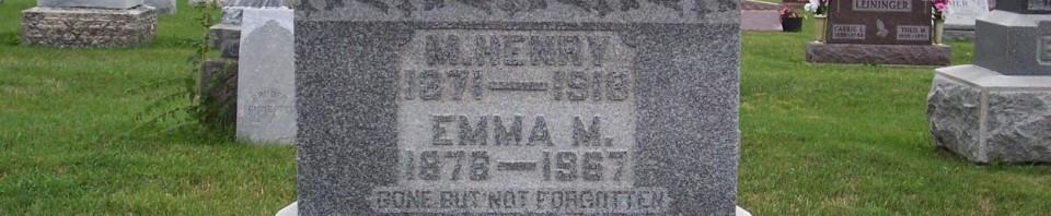 Henry & Emma (Baker) Grauberger, Zion Lutheran Cemetery, Chattanooga, Mercer County, Ohio. (2011 photo by Karen)