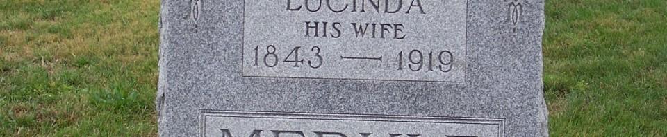 Joseph & Lucinda (Kantner) Merkle, Zion Lutheran Cemetery, Chattanooga, Mercer County, Ohio. (2011 photo by Karen)