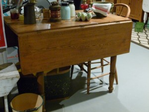 Grandma's drop-leaf table refinished by my mom.