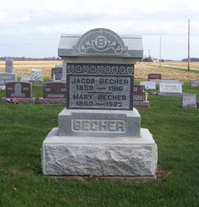 Jacob & Mary (Kettering) Becher, Zion Lutheran Cemetery, Mercer County, Ohio. (2011 photo by Karen)