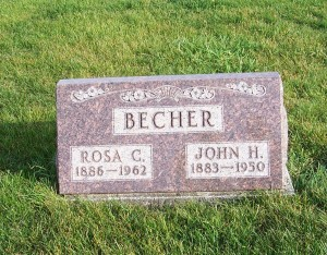 John H & Rosa C Becher, Zion Lutheran Cemetery, Chattanooga, Mercer County, Ohio. (2011 photo by Karen)