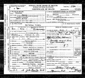 Maw W. Friddle death certificate. [1]
