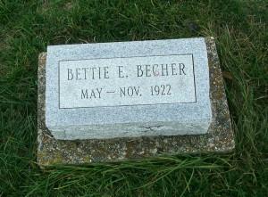 Bettie Becher, Zion Lutheran Cemetery, Chattanooga, Mercer County, Ohio. (2011 photo by Karen)