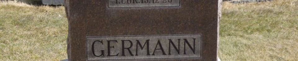 Jacob B Germann, Evangelical Protestant Cemetery, Ohio City, OH. (2014 photo by Karen)