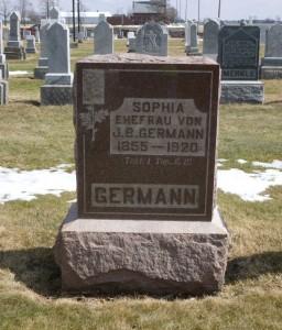 Sophia (Becher) Germann, Evangelical Protestant Cemetery, Van Wert County, Ohio. (2014 photo by Karen)