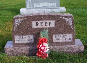 Harley J. & Ella (Becher) Reef, Zion Lutheran Cemetery, Chattanooga, Mercer County, Ohio. (2011 photo by Karen)