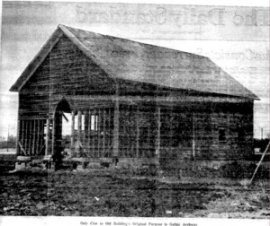The old frame church, used as a garage, 1980.
