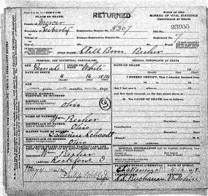 Death certificate of stillborn daughter of William & Katie Becher, 1914.