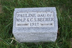 Pauline Becher, Zion Lutheran Cemetery, Mercer County, Ohio (2011 photo by Karen)